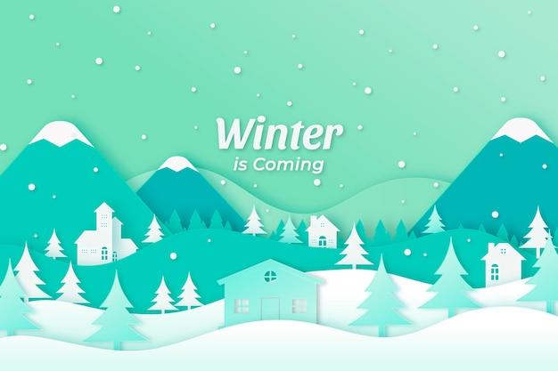 Fond D'hiver Avec Des Montagnes Vecteur gratuit