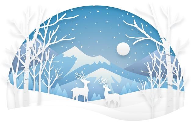 Fond D'hiver De Style Papier Vecteur Premium