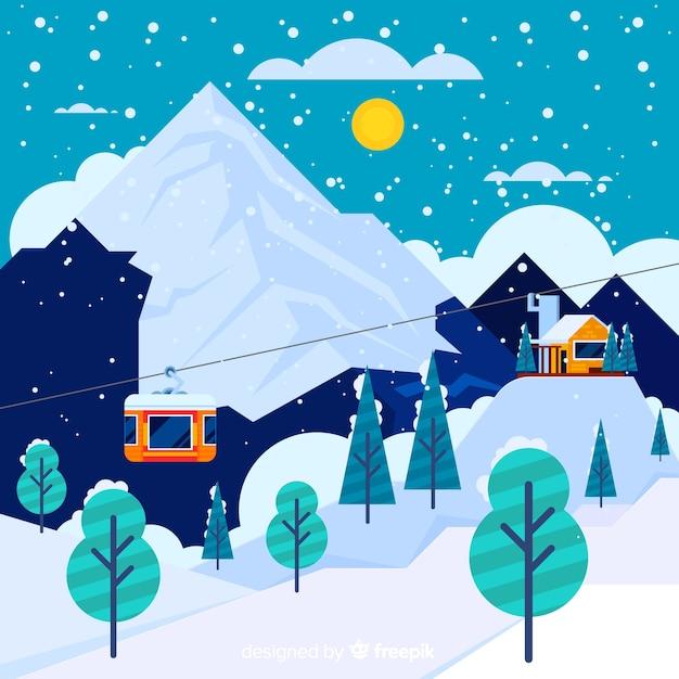 Fond d'hiver de téléphérique Vecteur gratuit