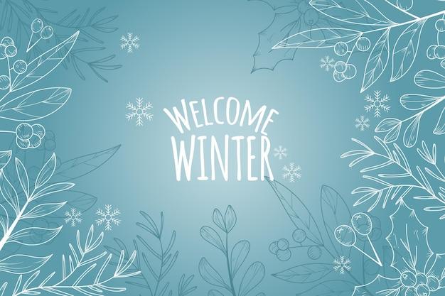 Fond D'hiver Avec Voeux D'hiver De Bienvenue Vecteur Premium