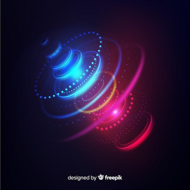 Fond d'hologramme futuriste néon lumière Vecteur gratuit
