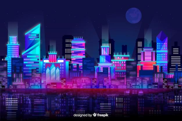 Fond d'horizon de ville futuriste Vecteur gratuit