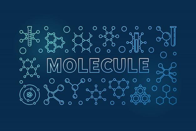Fond horizontal linéaire de molécule vecteur bleu Vecteur Premium