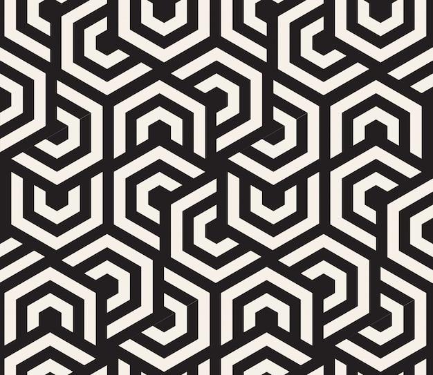 Fond Hypnotique Noir Et Blanc. Modèle Sans Couture Abstraite. Illustration Vecteur Premium