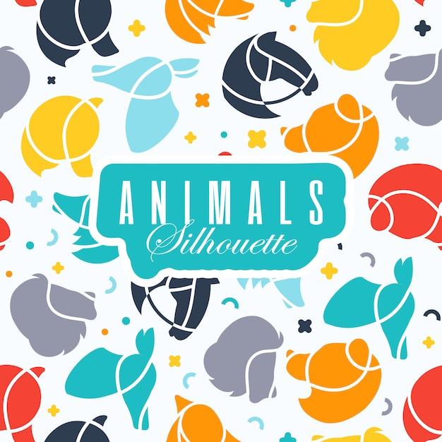 Fond avec des icônes du logo animaux. Vecteur gratuit