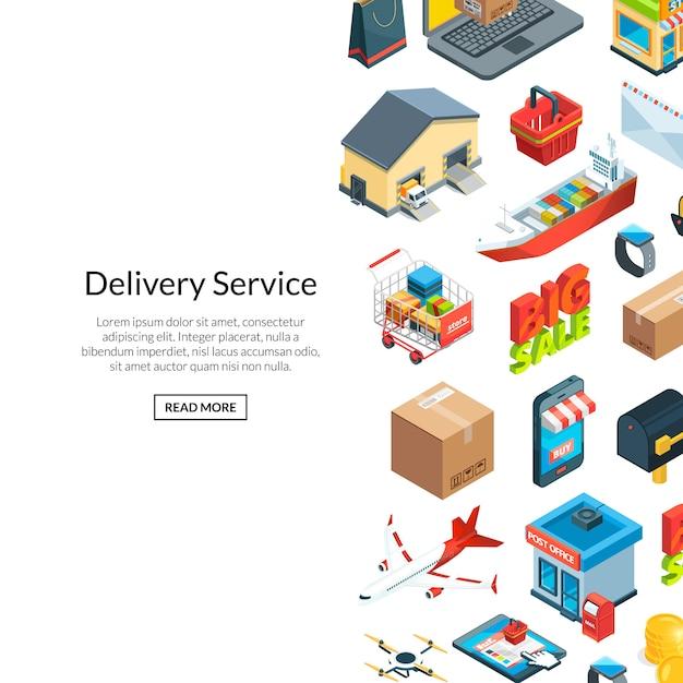 Fond D'icônes Logistique Et Livraison Isométrique Vecteur Premium