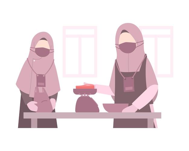 Fond D'illustration De L'aïd Al-adha Avec Des Femmes Musulmanes Portant Le Hijab Et Pesant Une Viande Vecteur Premium