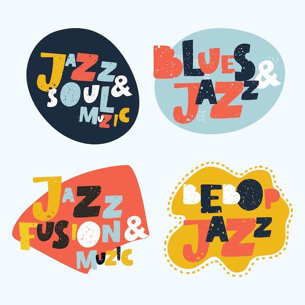 Fond D'illustration Typographique Jazz. La Musique . Musique Jazz Avec Design Coloré De Notes De Musique. Inscription De Jazz. Affiche De Concert De Musique Jazz. Lettrage De Musique Jazz. Invitation à Un événement Musical Vecteur Premium