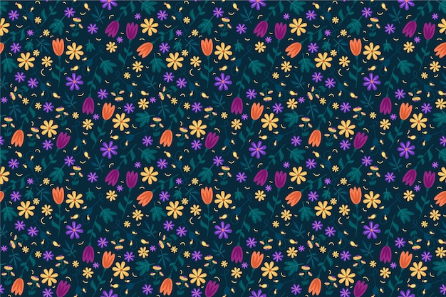Fond Imprimé De Fleurs Colorées Vecteur gratuit