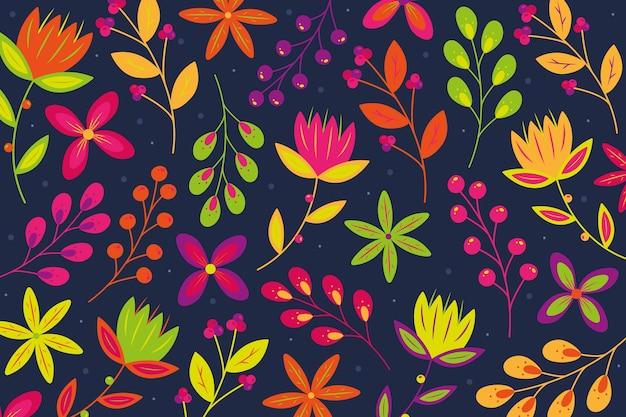 Fond Avec Imprimé Floral Coloré Ditsy Vecteur gratuit