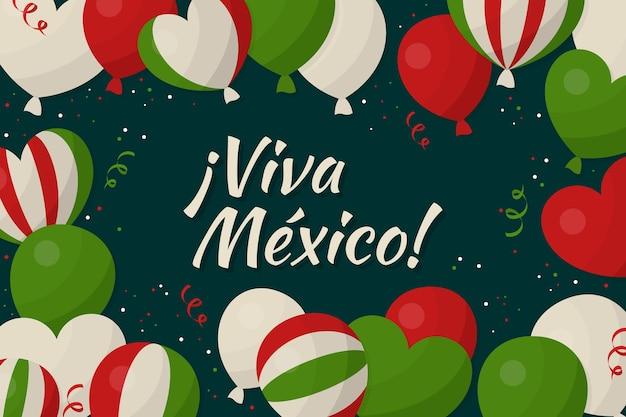 Fond D'indépendance Du Design Plat Mexique Vecteur gratuit