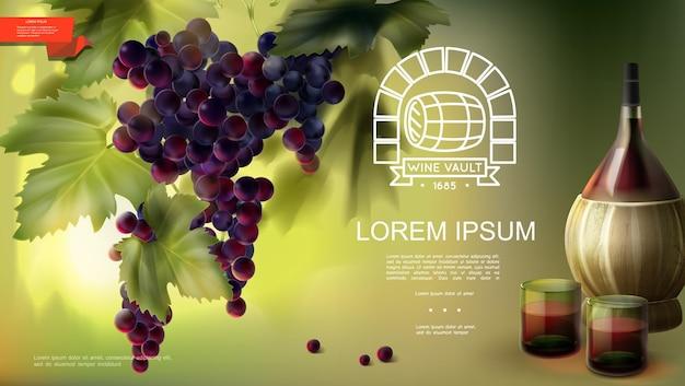 Fond De L'industrie Vinicole Réaliste Avec Grappe De Verres De Raisins Violets Et Bouteille D'illustration De Vin Vecteur Premium