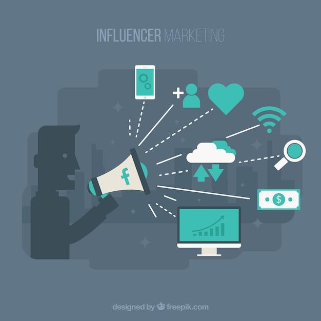Fond d'influencer facebook avec decive et émoticônes Vecteur gratuit