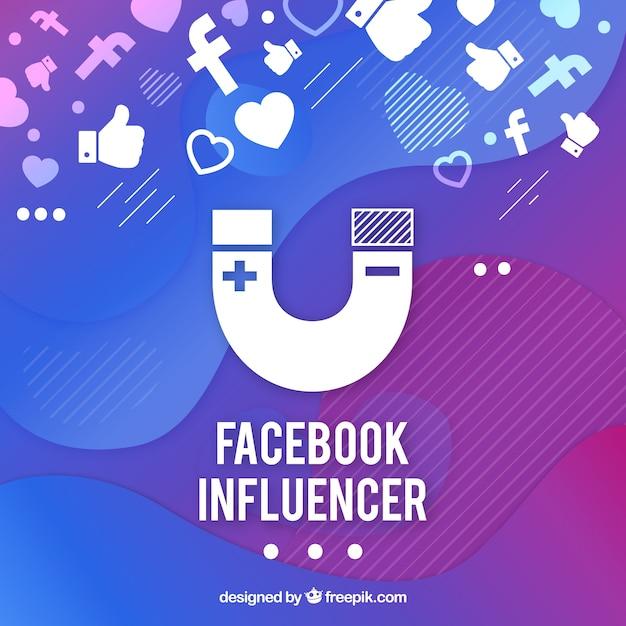 Fond de l'influencer facebook en dégradé de couleurs Vecteur gratuit
