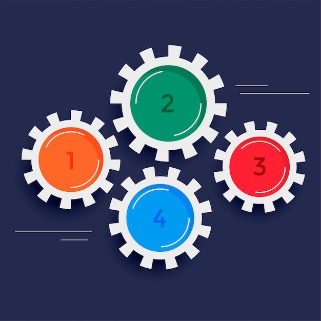 Fond d'infographie engrenages quatre étapes Vecteur gratuit