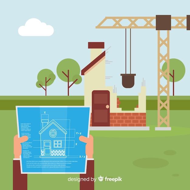 Fond d'ingénierie de construction plate Vecteur gratuit