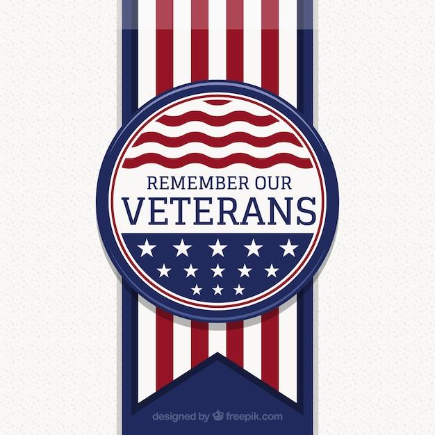 Fond avec insigne de la journée des anciens combattants Vecteur gratuit
