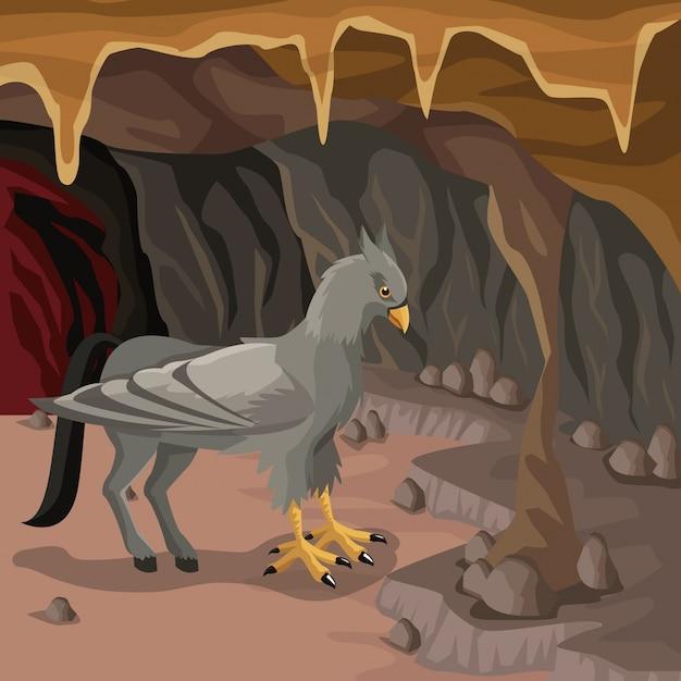 Fond Intérieur De La Grotte Avec Créature Mythologique Grec Hippogriffe Vecteur Premium