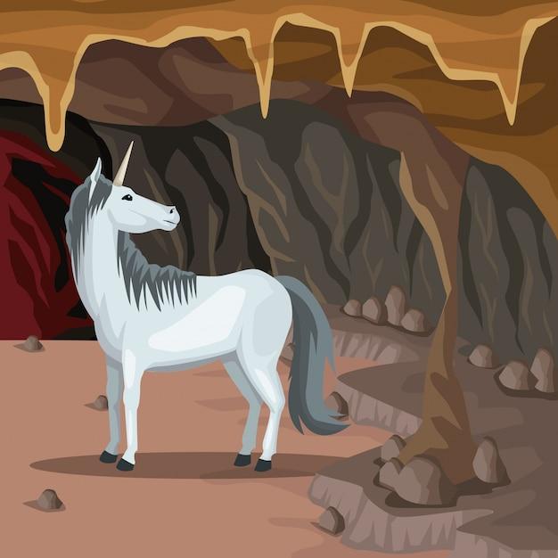 Fond Intérieur De La Grotte Avec Créature Mythologique Grecque Licorne Vecteur Premium