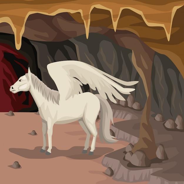 Fond Intérieur De La Grotte Avec Créature Mythologique Grecque De Pegasus Vecteur Premium