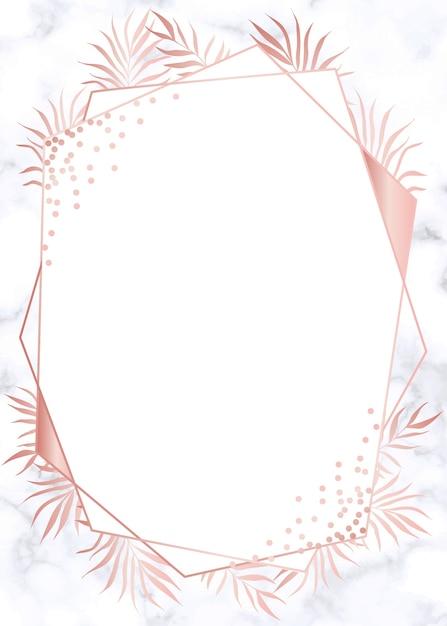 Fond d'invitation de mariage géométrique or rose moderne Vecteur Premium