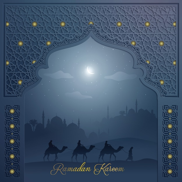 Fond islamique pour accueillir la porte de la mosquée avec motif arabe et paysage arabe ramadan kareem Vecteur Premium