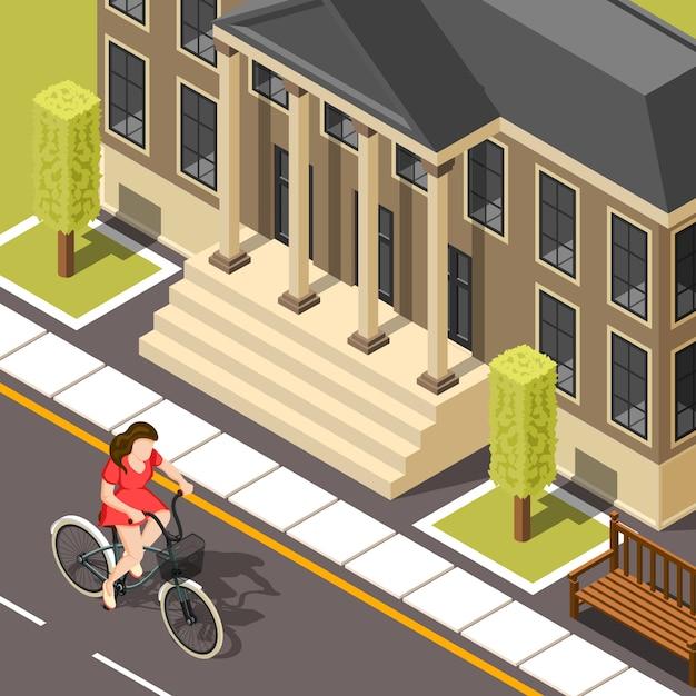 Fond isométrique cycliste Vecteur gratuit