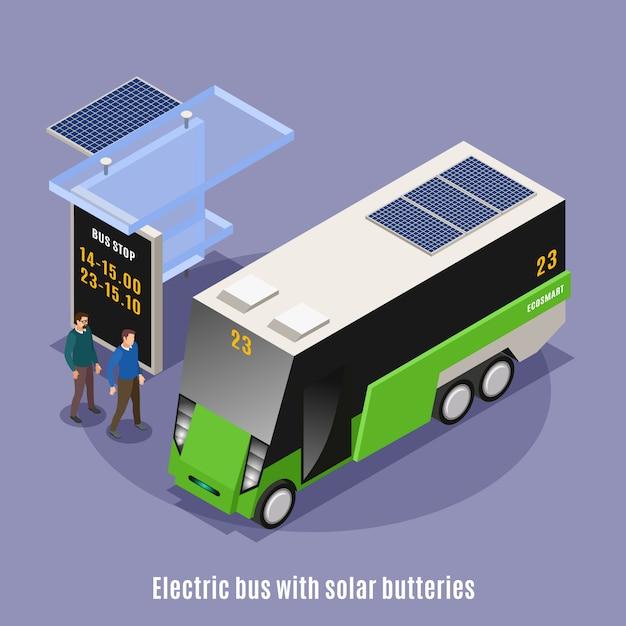 Fond Isométrique De L'écologie Urbaine Intelligente Avec Vue Sur Un Abribus Moderne Et Omnibus électrique Avec Texte Vecteur gratuit