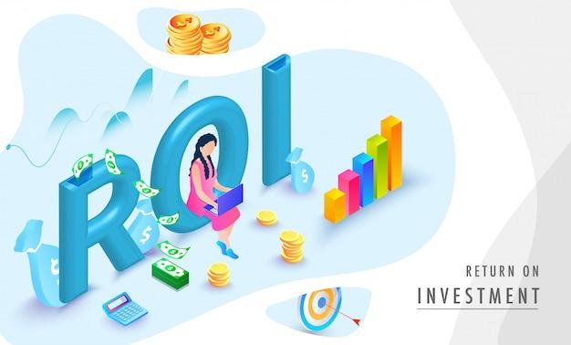 Fond isométrique de retour sur investissement (roi). Vecteur Premium