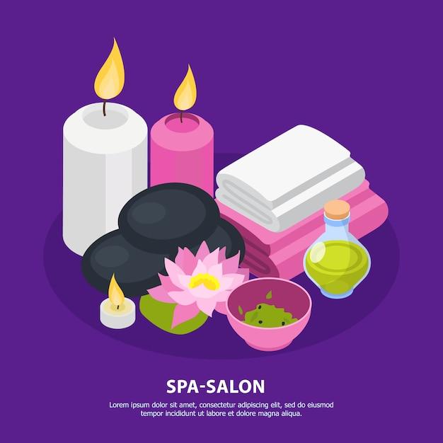 Fond Isométrique De Salon De Spa Vecteur gratuit