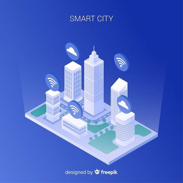 Fond isométrique smart city Vecteur gratuit