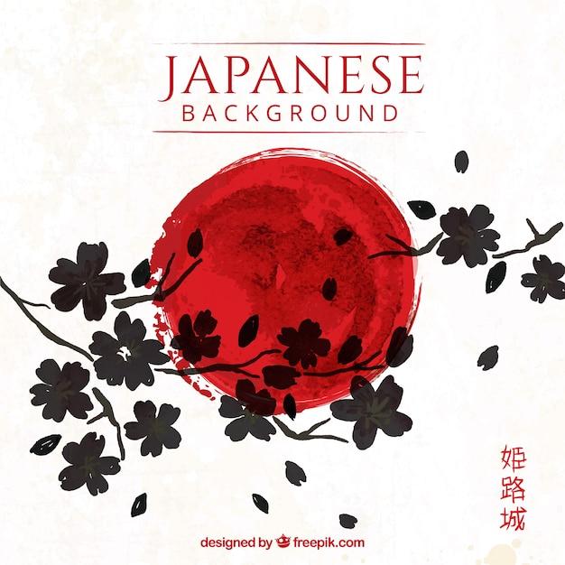 Fond Japonais Artistique Avec Des Fleurs Vecteur Premium