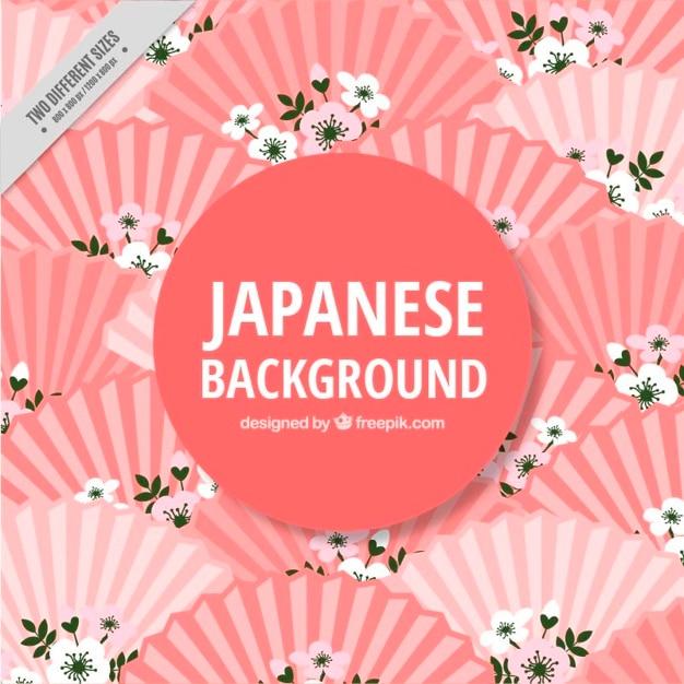 Fond japonais avec les fans Vecteur gratuit
