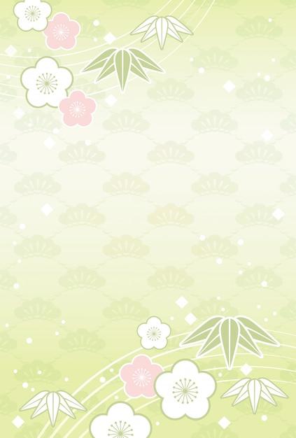 Fond japonais avec des fleurs et des plantes de fête traditionnelle Vecteur Premium
