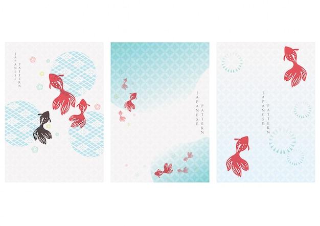 Fond Japonais Avec Poisson D'or. Motif Asiatique Avec Des éléments De L'icône. Modèle D'eau Et De Rivière Dans Un Style Vintage. Vecteur Premium