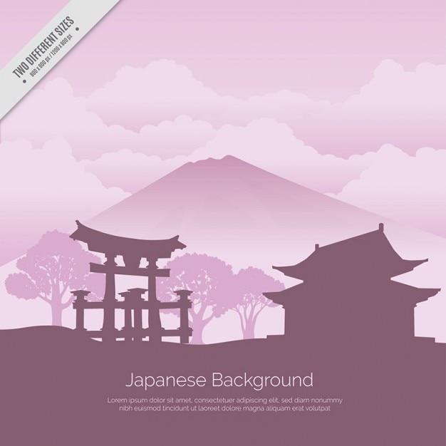 Fond japonais temple Vecteur gratuit