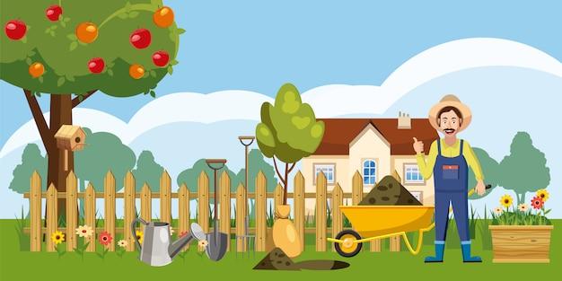 Fond de jardinier homestead Vecteur Premium