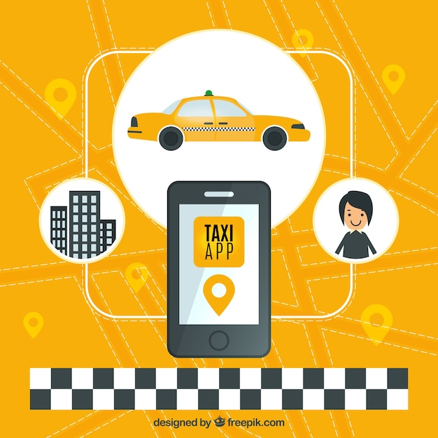 Fond jaune d'application de taxi Vecteur gratuit
