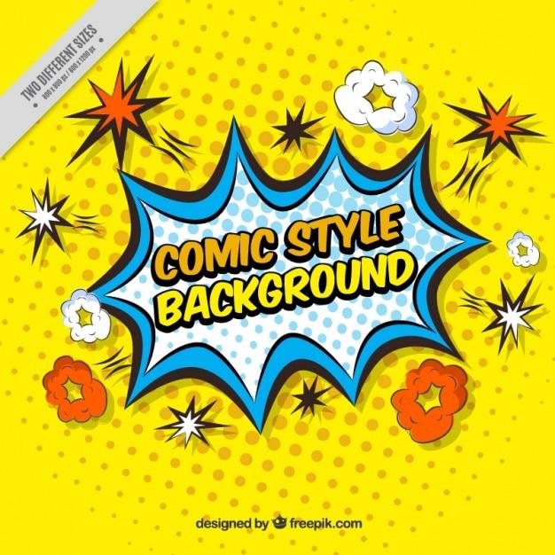 Fond jaune des effets comiques dans le style pop Vecteur gratuit