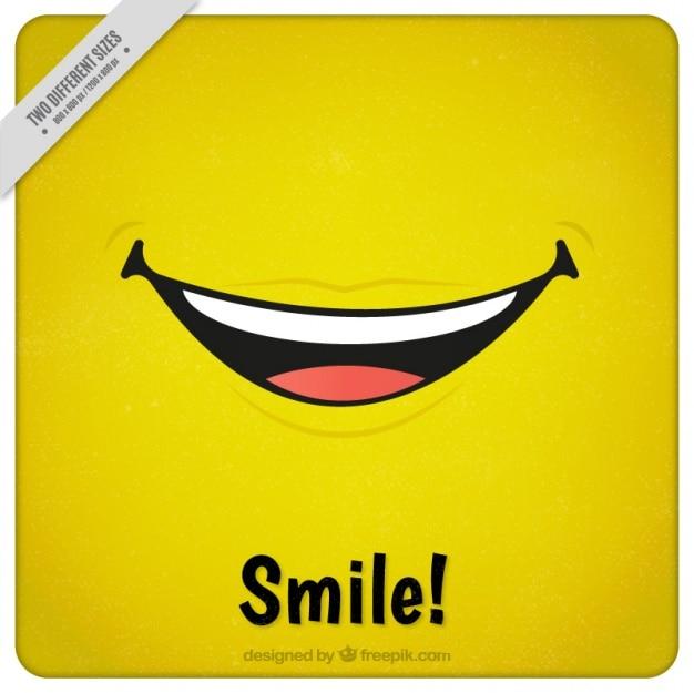Fond jaune avec un grand sourire Vecteur gratuit