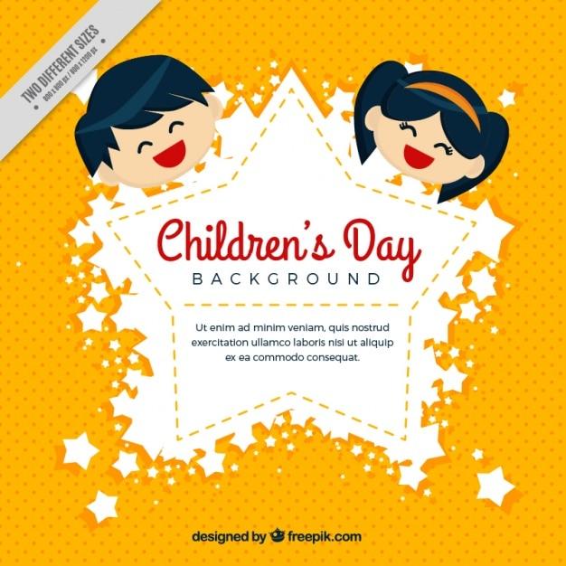 Fond jaune avec l'insigne de jour des enfants Vecteur gratuit