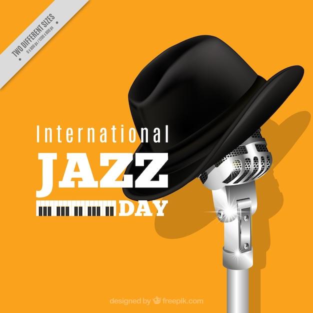 Fond jaune de jazz avec microphone et chapeau Vecteur gratuit