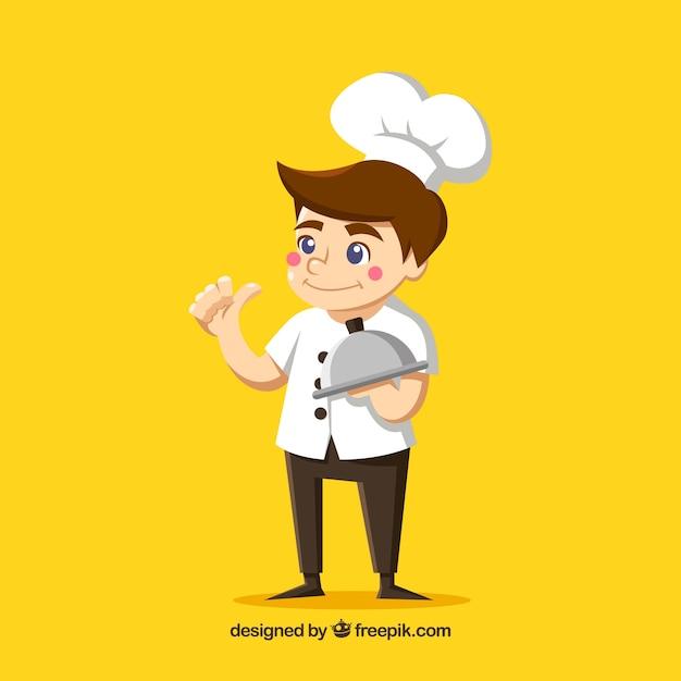Fond jaune avec jeune cuisinier Vecteur gratuit