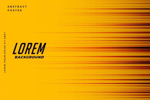 Fond jaune avec lignes de vitesse de mouvement Vecteur gratuit