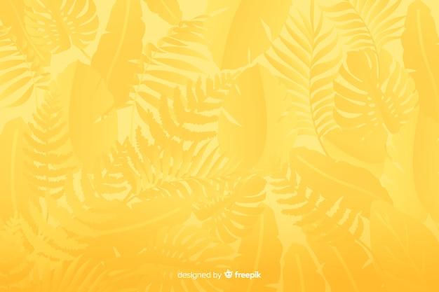 Fond jaune monochromatique avec des feuilles Vecteur gratuit