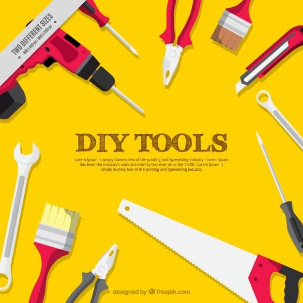 Fond jaune des outils de menuiserie Vecteur gratuit