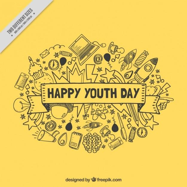 Fond jaune pour le jour de la jeunesse Vecteur gratuit