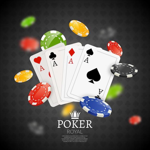 Fond de jetons et cartes de poker Vecteur Premium