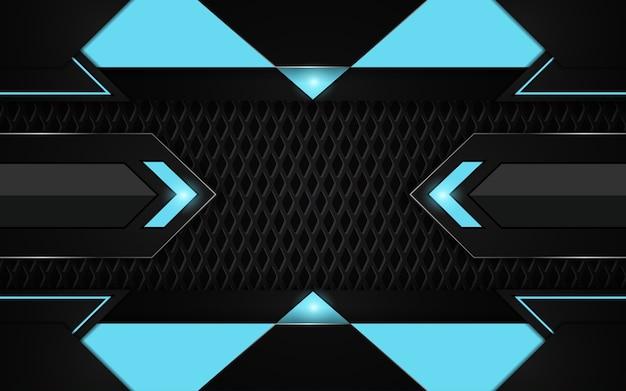 Fond De Jeu Abstrait Noir Et Bleu Futuriste Vecteur Premium