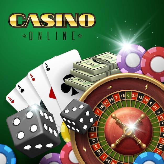 Fond de jeu de casino en ligne avec des cartes de roulette, de dés et de poker. Vecteur Premium